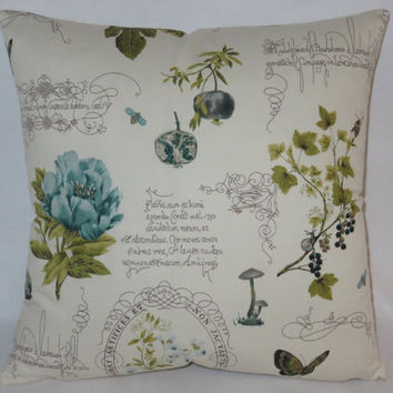 "Botanical Script Pillow Cover, Flowers Bugs Writing Fruit, P. Kaufmann Fresh Cuttings, Teal Blue Olive Green Cream, 17"" Sq, Ready Ship"
