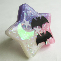 Starry Night Bat Flight with Shimmery Disappearing Moon or Bones Adjustable Ring (Quantity 1) Fairy Kei Kawaii Creepy Cute Pastel Goth