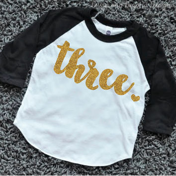 3 Year Old Birthday Shirt Girl Three Years Outfit Raglan Toddler 3rd