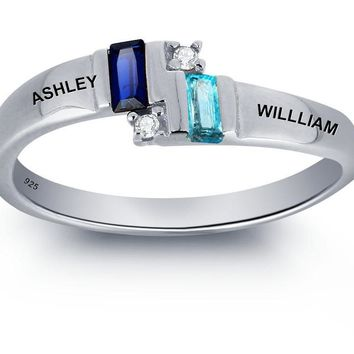 Personalized Engrave  Couple Name Ring 925 Sterling Silver Love Promise Ring Best Gift