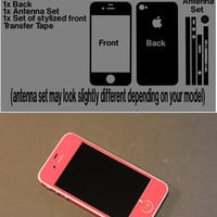 Red iPhone 4 iPhone 4s Vinyl Decal Skin Kit with Antenna Bumper Guards Many Colors