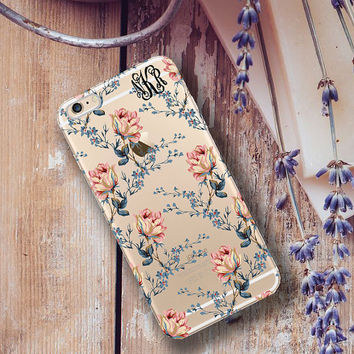 Personalized Iphone 6 Plus case clear, Floral Iphone 6 case clear, Girly fashion for her, Stocking stuffer under 25 for women (1609)