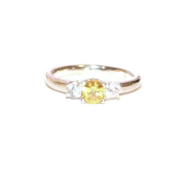 Yellow Sapphire Ring, Three Stone Ring, Sterling Silver Ring With Three Stones, Ring with Accent Stones