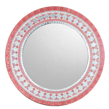 Pink Mosaic Mirror | Round Wall Mirror | Baby Girl Nursery | Nursery Decor