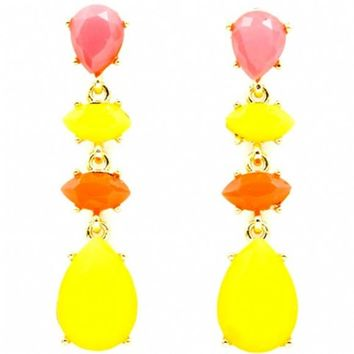 Britta's Chunky Yellow, Pink & Orange Stone Teardrop Earrings - As Seen In All You Magazine
