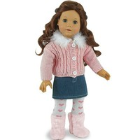 18 Inch Doll Clothing/Clothes 3 Pc. Set by Sophia's Fits American Girl Dolls and More! Chenille Doll Sweater, Denim Skirt & Heart Doll Tights Outfit