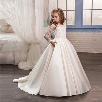 Fancy Pageant Dress Long Sleeves Lace Appliques Satin White Ivory Flower Girl Dresses Wedding Custom Made Gown