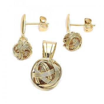 Gold Layered 5.052.020 Earring and Pendant Adult Set, Love Knot Design, Polished Finish, Golden Tone