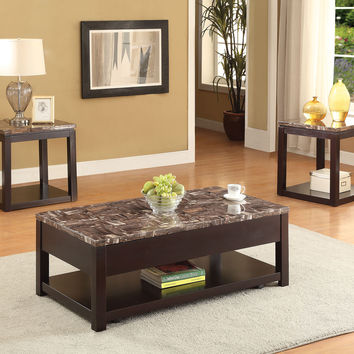 Acme Dusty Coffee Table with Lift Top, Faux Marble & Espresso
