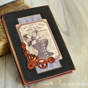 Steampunk handmade notebook Fabric covered notebook with antique paper Steampunk journal Fabric journal Blank journal Black notebook