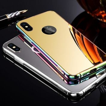 High quality!! Luxury Original metal-frame+Acrylic mirror back cover phone case for Apple iPhone X Coque iPhone X/10/8/7/6s/6/Pl