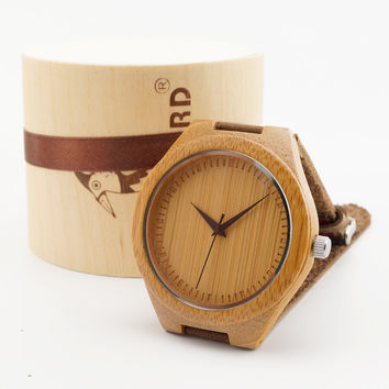 japanese miyota 2035 movement wristwatches genuine leather bamboo wooden watches for men and women best gifts