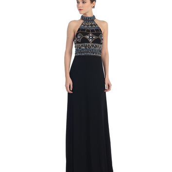 Preorder -  Black Halter Sequin Bodice Floor Length Dress 2015 Prom Dresses