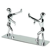 Blogger Fashion Creative Stainless Steel Decorative Small Humanoid Bookend Pair Kung Fu Man Book Organizer Metal Bookends book end book file Home Office Library Decoration Birthday Gift