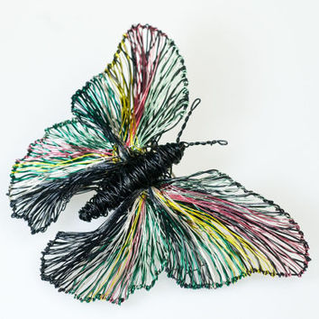 Black butterfly brooch Butterfly jewelry Wire sculpture art Statement jewelry Art brooch Contemporary jewelry Rainbow Butterfly Gift for her