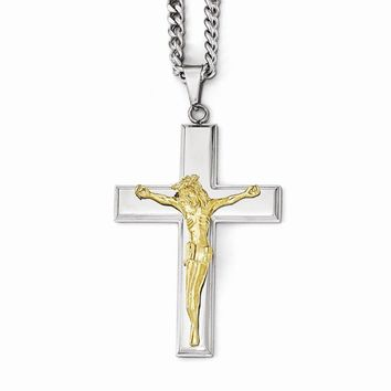 Stainless Steel Polished Cross W/yellow Ip Jesus Necklace
