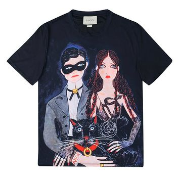 GUCCI New fashion bust and back people print short sleeve top t-shirt Black