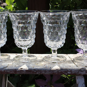 4 American clear Fostoria water goblets, vintage Early American water goblets, crystal pedestal diamond water goblets, wedding toasting