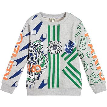 Kenzo Boys Grey Tiger and Patches Sweatshirt