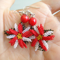Red Embroidered Earings/oya/naturel stone/needle lace