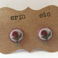Handmade Plastic Fandom Earrings - Stained Glass Rose