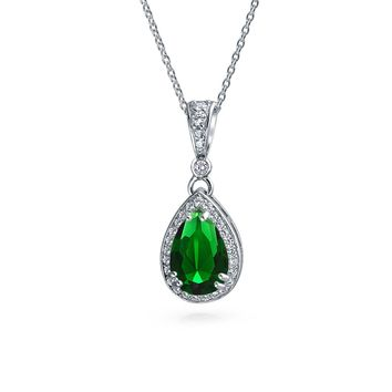 Green Solitaire Drop Pendant Necklace Emerald CZ Halo Sterling Silver