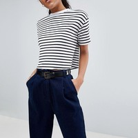 ASOS DESIGN Tall Boxy Crop Stripe T-Shirt In Rib at asos.com