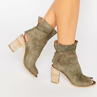 Free People Golden Road Khaki Cut Out Heeled Boots