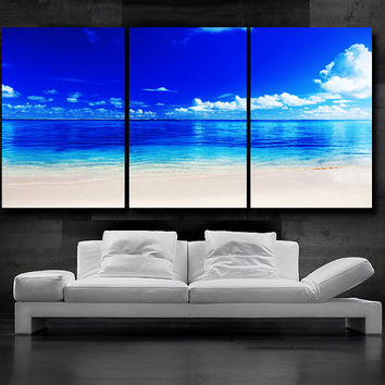 "LARGE 30""x 60"" 3 Panels Art Canvas Print Sea Beach Wall decorative home (Included framed 1.5"" depth)"