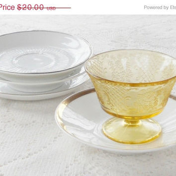 On Sale Vintage White and Gold Mismatched Saucers, Set of 4, Tea Cups, Modern Minimalist, Tea Party, Weddings, Home Decor