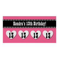 13th Birthday Pink Black Hearts Banner Custom V13H Posters