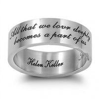 Stainless Steel Helen Keller Engraved Quote Ring