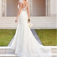 [196.99] Alluring Tulle Bateau Neckline Mermaid Wedding Dresses With Lace Appliques - dressilyme.com