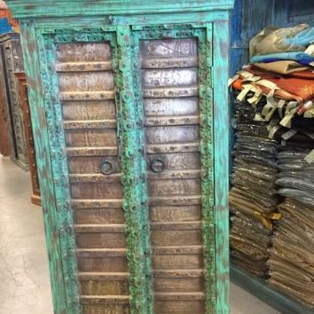 Antique Vintage Armoire Brass Patina Green Storage Cabinet Eclectic Furniture