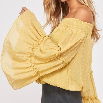 smocked sheer off the shoulder bell sleeved swiss dot top - mustard