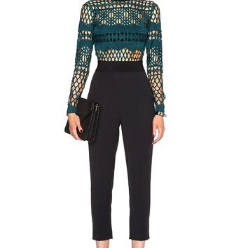 Teal Embroidered Lace Jumpsuit
