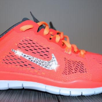 New Women's Nike Free Run 5.0 TR Fit 4 Running Jogging Shoes Customized With Clear Swa