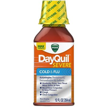 Vicks Dayquil Severe Cold & Flu Relief Liquid, 12 oz