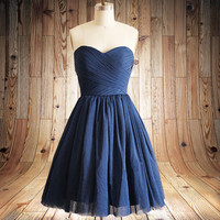 Navy blue Short Bridesmaid dress Sweetheart  Wedding Party Dress short Bridesmaid Dresses short Prom Dresses party dress,formal dress