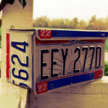 Upcycled Wall Mount Ohio License Plate Mailbox