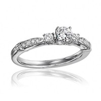 14K White Gold 1/2cttw 3-Stone Plus Diamond Engagement Ring