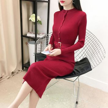Sexy Women's Knit High Waist Bodycon Dresses Warm Winter Sweater Dresses With Sashes Long Sleeve Solid Button Dress