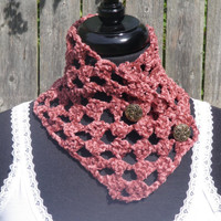 Chenille mauve crochet neckwarmer with buttons, scarflette
