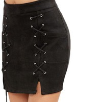 COLROVIE Faux Suede Skirt Retro Skirts Suede Mini Skirt Sexy Black Suede Slit Lace Up With Zipper Bodycon Skirt