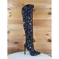 Red Cherry Carlie Black Colorful Multi Color Sequin High Heel Over the Knee Boot