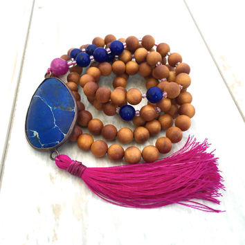 Tassel Mala Necklace, Mala Beads, Wood Mala Necklace, Bohemian Jewelry, 108 Mala Bead Necklace, Tassel Jewelry,  Spiritual Jewelry