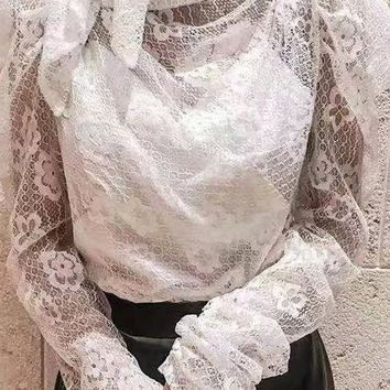 French Poets Society Sheer Lace Long Puff Sleeve Turtleneck Bow Blouse Top - 2 Colors Available