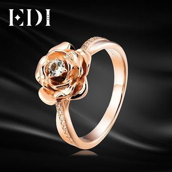 EDI Genuine Floral 0.1CT Natural Topaz Moissanite Diamond Ring 925 Sterling-silver-jewelry Flower Beauty And The Beast Rose
