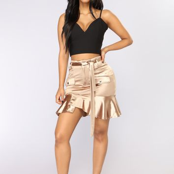 Miss All That Satin Skirt - Mocha