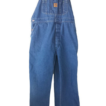 Vintage Big Ben Denim Overalls 38x32, 80s Wrangler Workwear Carpenter Bib Jean Coveralls, Long Pant Unisex Button Fly Overalls